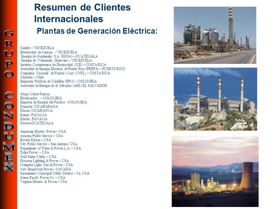 Resumen de Clientes Internacionales Plantas de Generación Eléctrica: