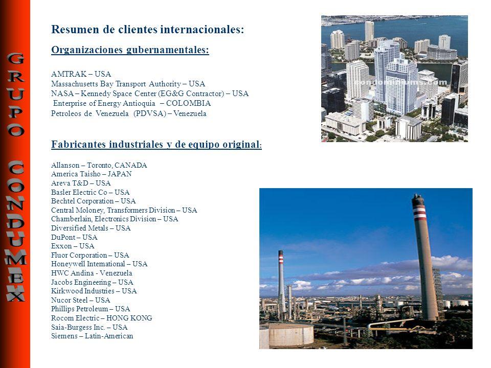 Resumen de clientes internacionales: