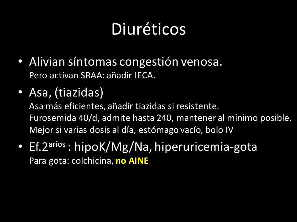 Diuréticos Alivian síntomas congestión venosa. Pero activan SRAA: añadir IECA.