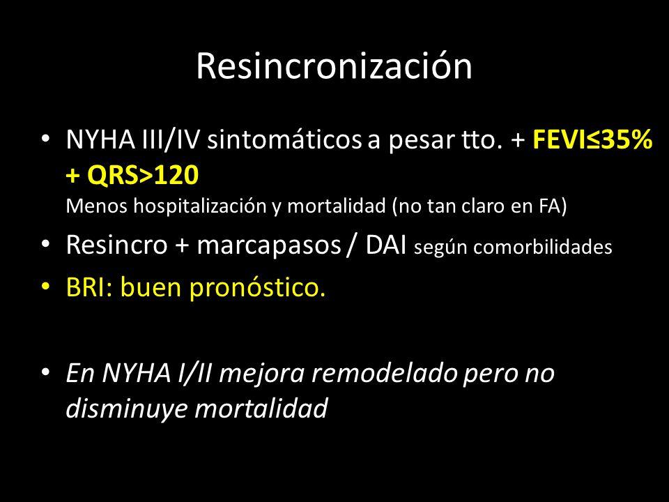 Resincronización NYHA III/IV sintomáticos a pesar tto. + FEVI≤35% + QRS>120 Menos hospitalización y mortalidad (no tan claro en FA)
