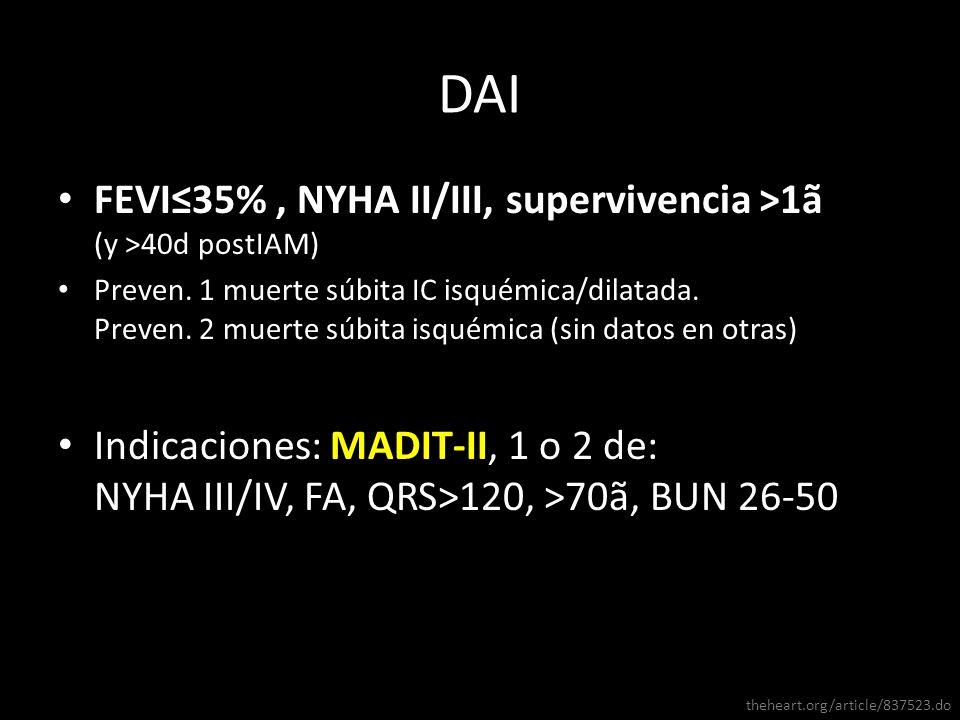 DAI FEVI≤35% , NYHA II/III, supervivencia >1ã (y >40d postIAM)