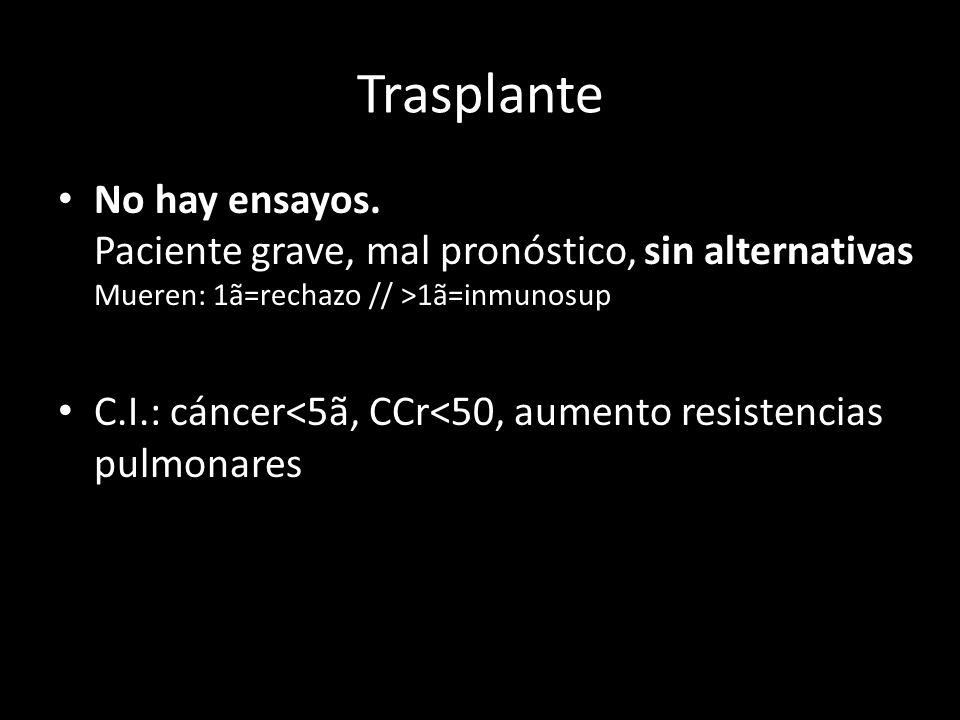 Trasplante No hay ensayos. Paciente grave, mal pronóstico, sin alternativas Mueren: 1ã=rechazo // >1ã=inmunosup.
