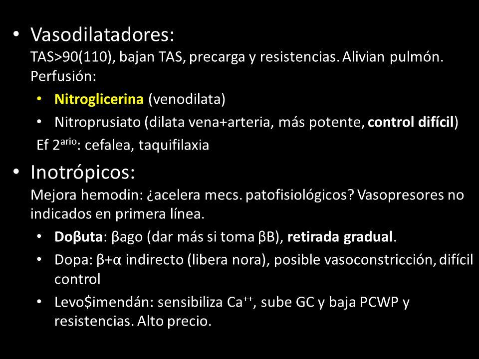 Vasodilatadores: TAS>90(110), bajan TAS, precarga y resistencias