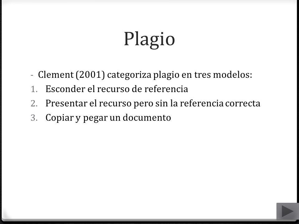 Plagio Clement (2001) categoriza plagio en tres modelos: