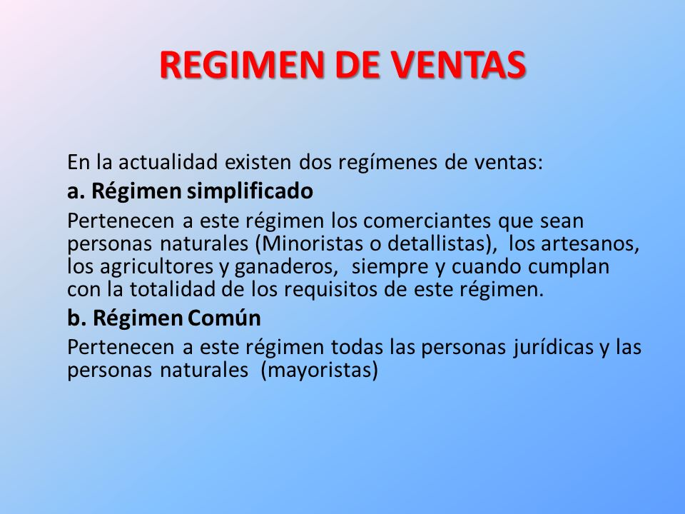 REGIMEN DE VENTAS