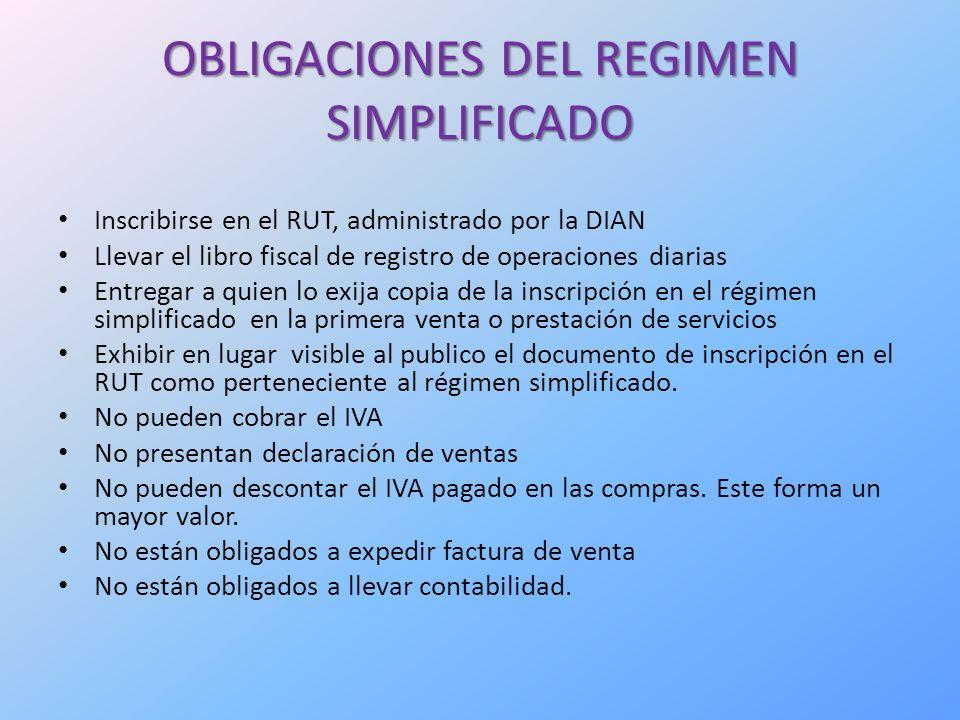 OBLIGACIONES DEL REGIMEN SIMPLIFICADO