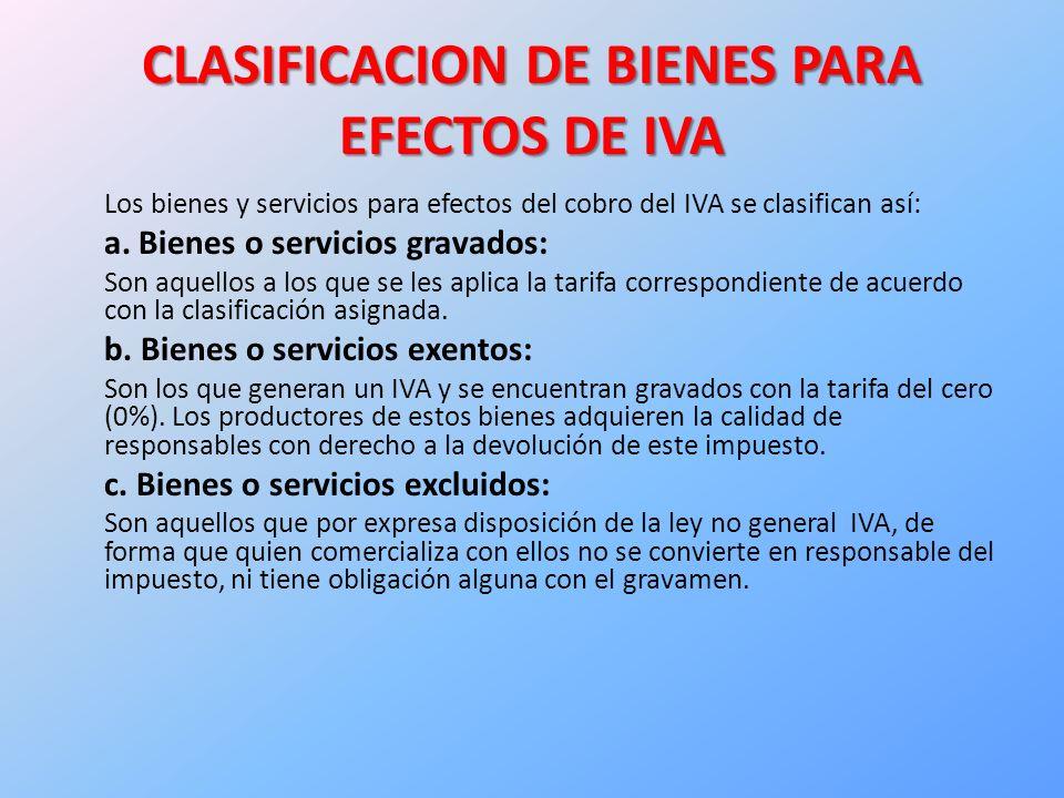 CLASIFICACION DE BIENES PARA EFECTOS DE IVA