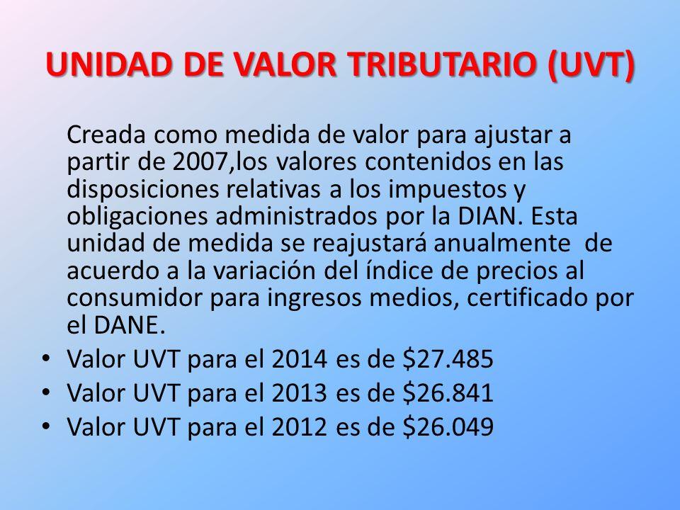 UNIDAD DE VALOR TRIBUTARIO (UVT)