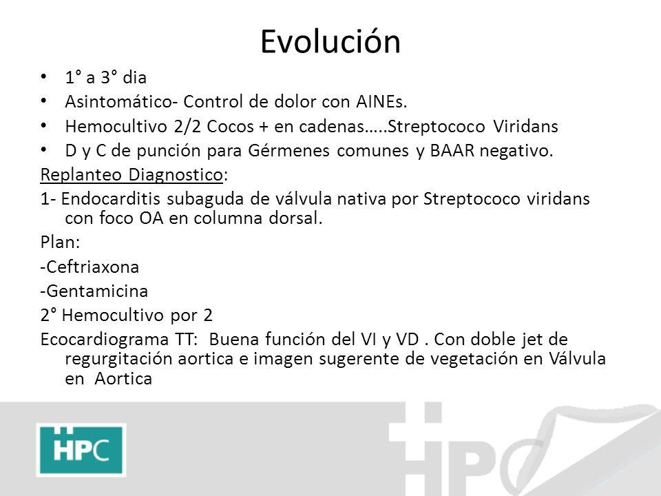 Evolución 1° a 3° dia Asintomático- Control de dolor con AINEs.