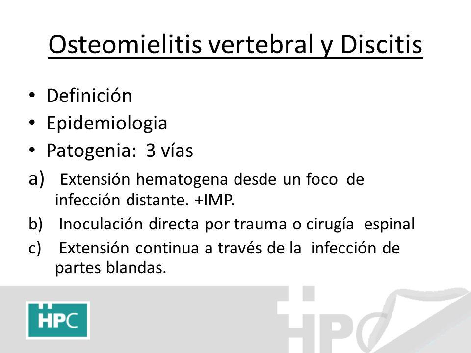Osteomielitis vertebral y Discitis