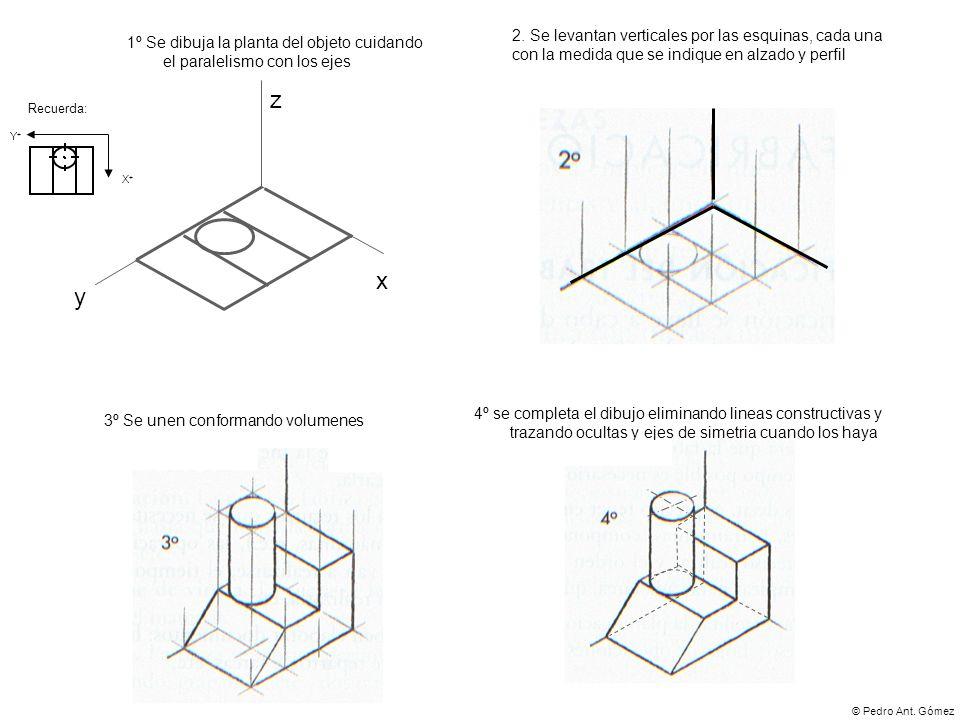 2. Se levantan verticales por las esquinas, cada una con la medida que se indique en alzado y perfil