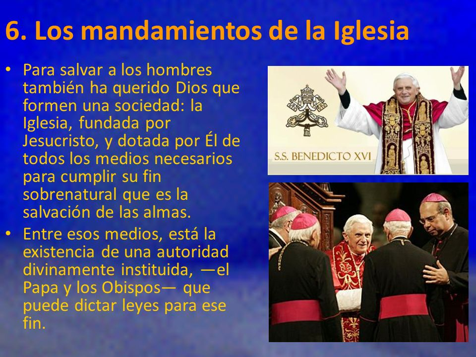 6. Los mandamientos de la Iglesia
