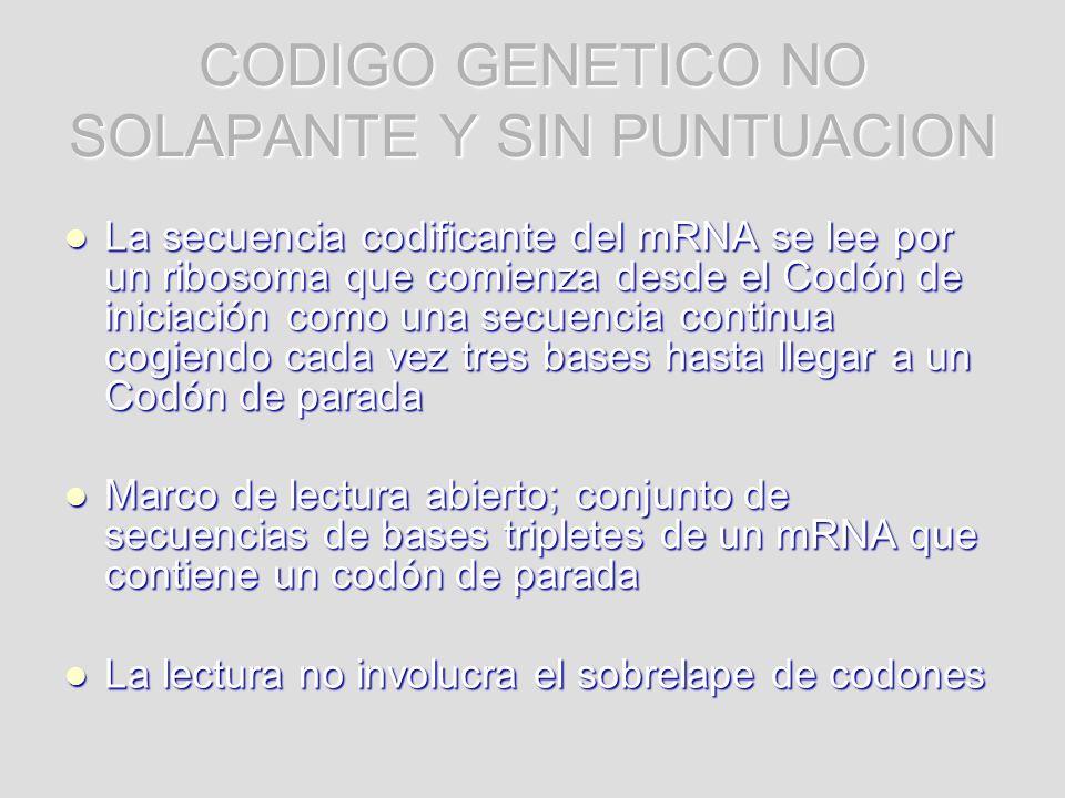 CODIGO GENETICO NO SOLAPANTE Y SIN PUNTUACION