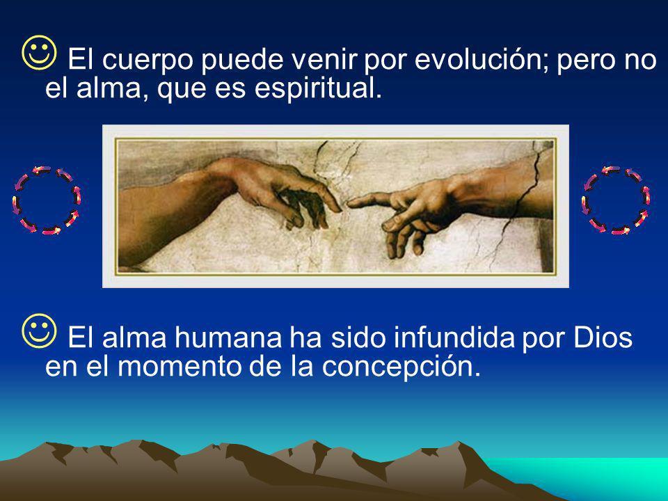 El cuerpo puede venir por evolución; pero no el alma, que es espiritual.