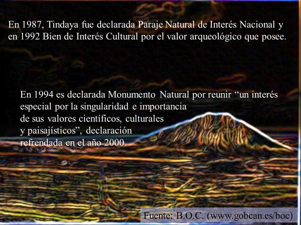 En 1987, Tindaya fue declarada Paraje Natural de Interés Nacional y