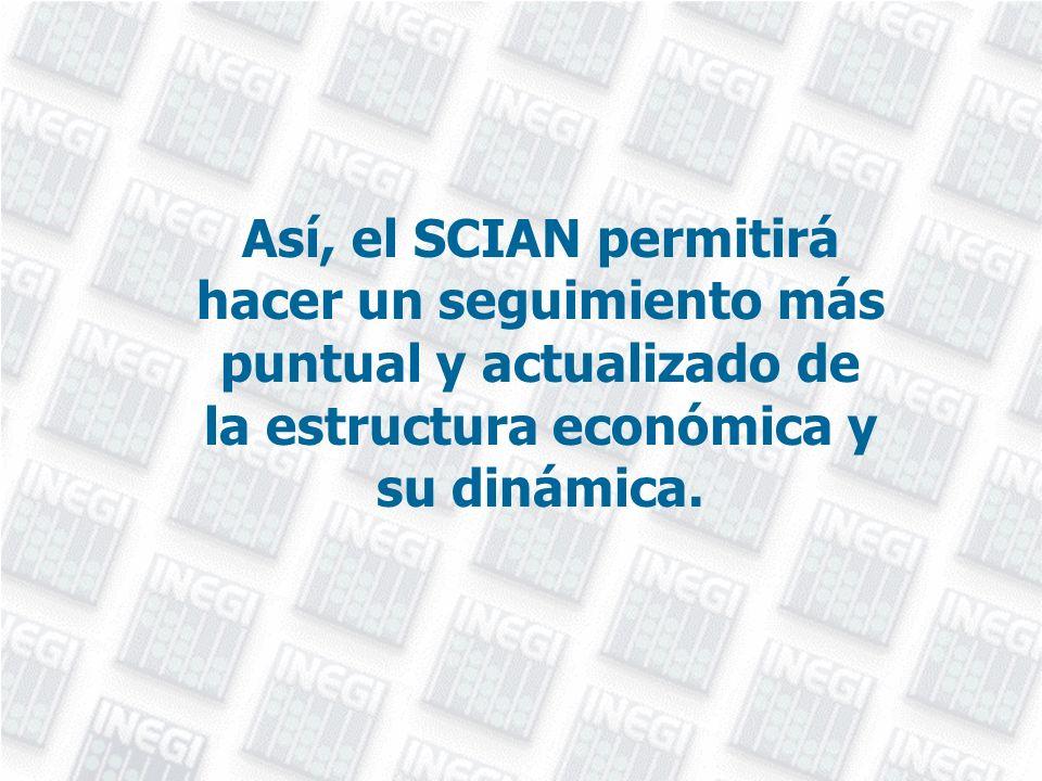 Así, el SCIAN permitirá hacer un seguimiento más puntual y actualizado de la estructura económica y su dinámica.