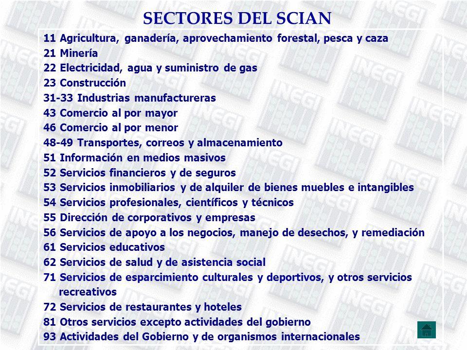 SECTORES DEL SCIAN 11 Agricultura, ganadería, aprovechamiento forestal, pesca y caza. 21 Minería. 22 Electricidad, agua y suministro de gas.