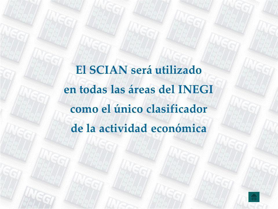 El SCIAN será utilizado en todas las áreas del INEGI
