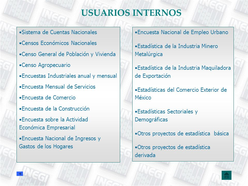 USUARIOS INTERNOS Sistema de Cuentas Nacionales