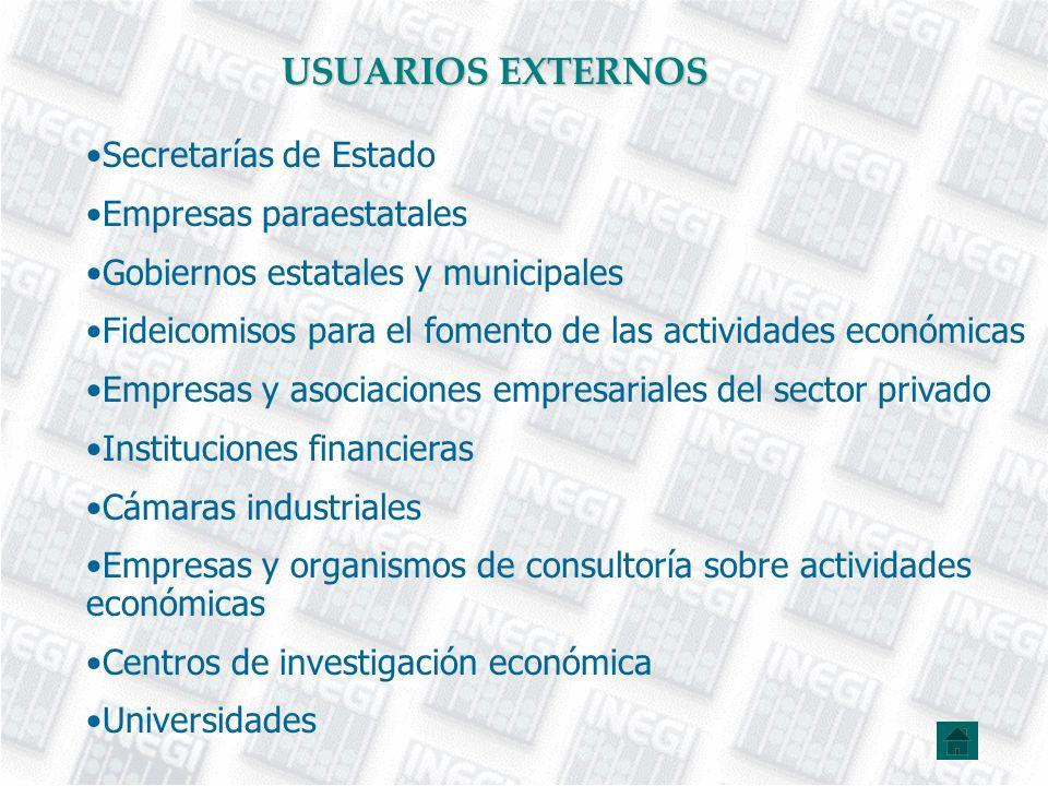 USUARIOS EXTERNOS Secretarías de Estado Empresas paraestatales