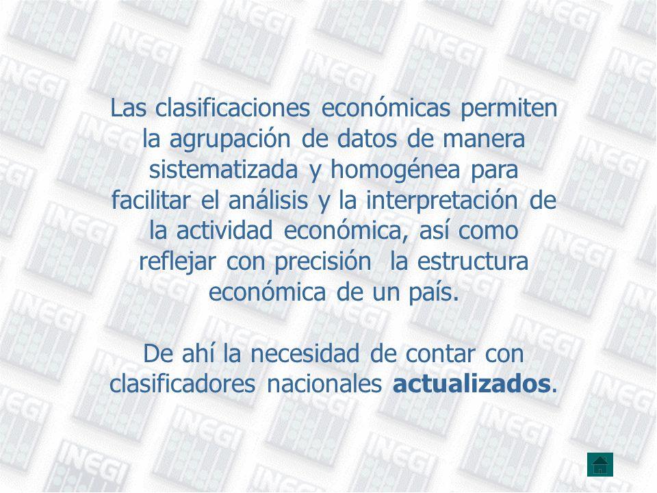 Las clasificaciones económicas permiten la agrupación de datos de manera sistematizada y homogénea para facilitar el análisis y la interpretación de la actividad económica, así como reflejar con precisión la estructura económica de un país.