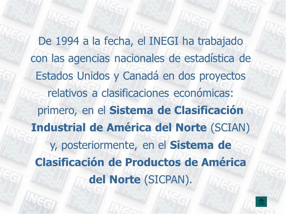 De 1994 a la fecha, el INEGI ha trabajado con las agencias nacionales de estadística de Estados Unidos y Canadá en dos proyectos relativos a clasificaciones económicas: primero, en el Sistema de Clasificación Industrial de América del Norte (SCIAN) y, posteriormente, en el Sistema de Clasificación de Productos de América del Norte (SICPAN).