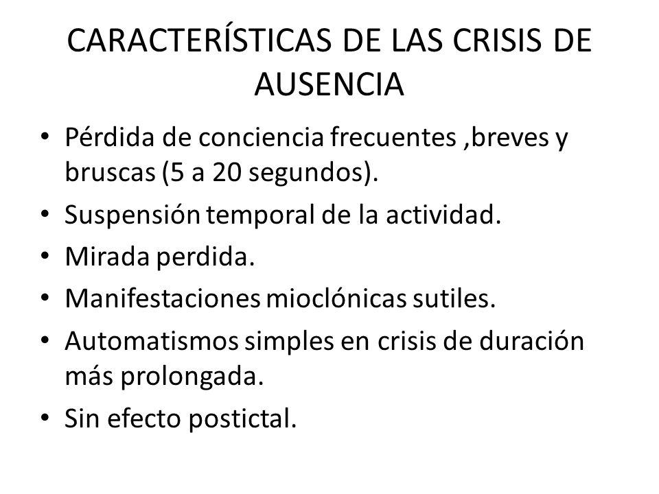 CARACTERÍSTICAS DE LAS CRISIS DE AUSENCIA