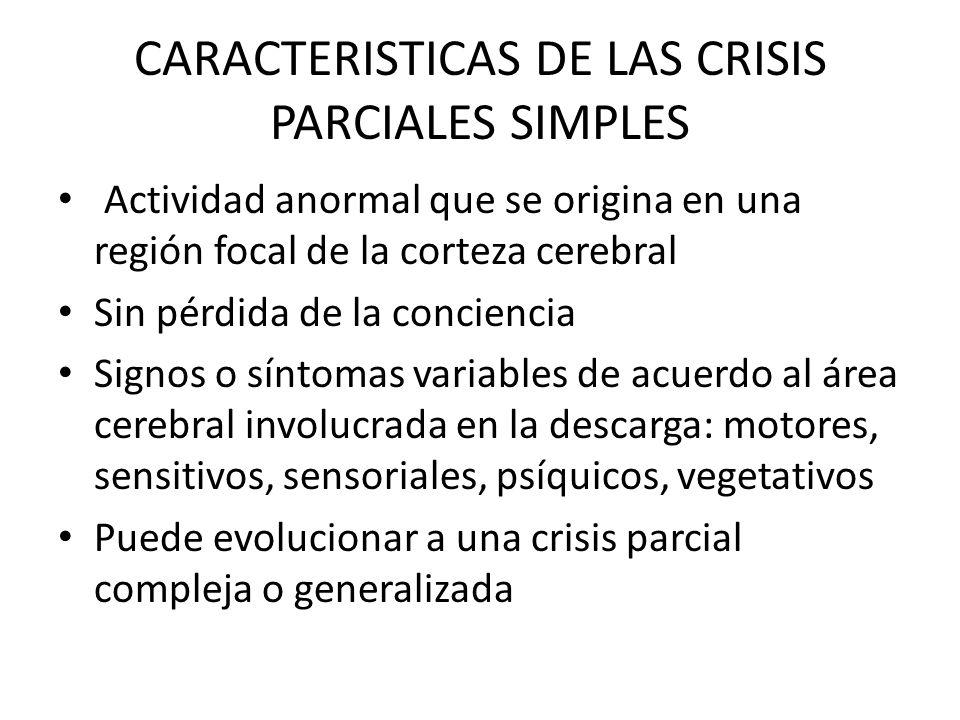 CARACTERISTICAS DE LAS CRISIS PARCIALES SIMPLES