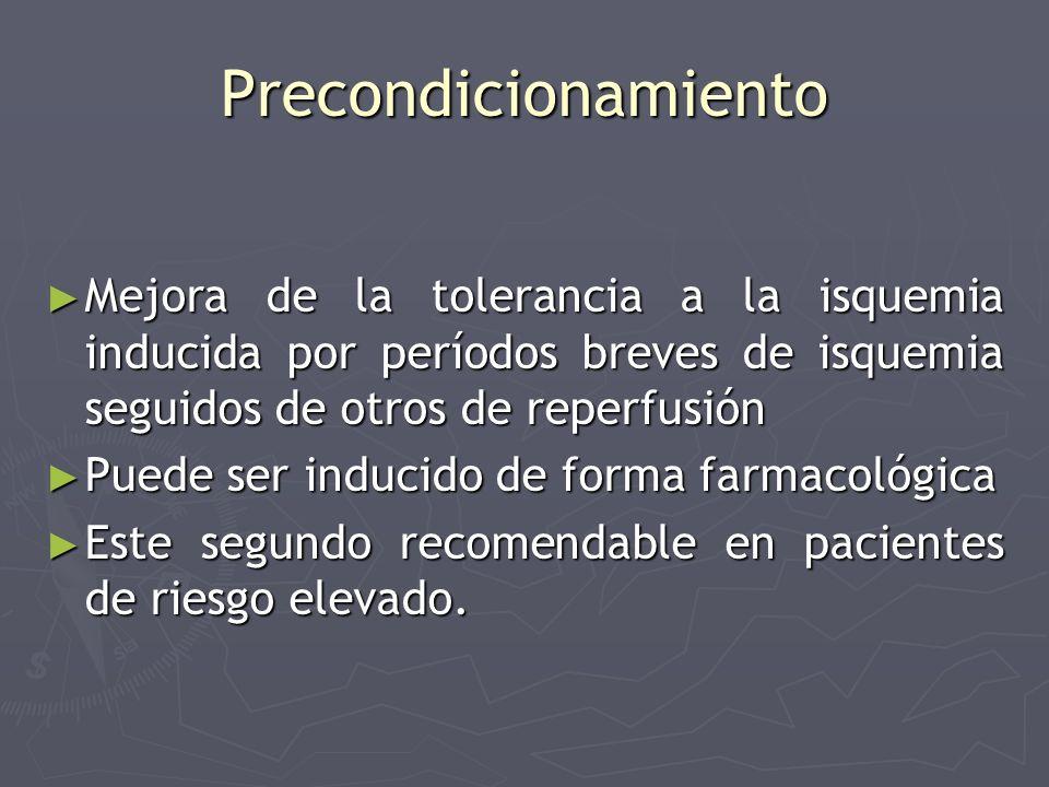 Precondicionamiento Mejora de la tolerancia a la isquemia inducida por períodos breves de isquemia seguidos de otros de reperfusión.
