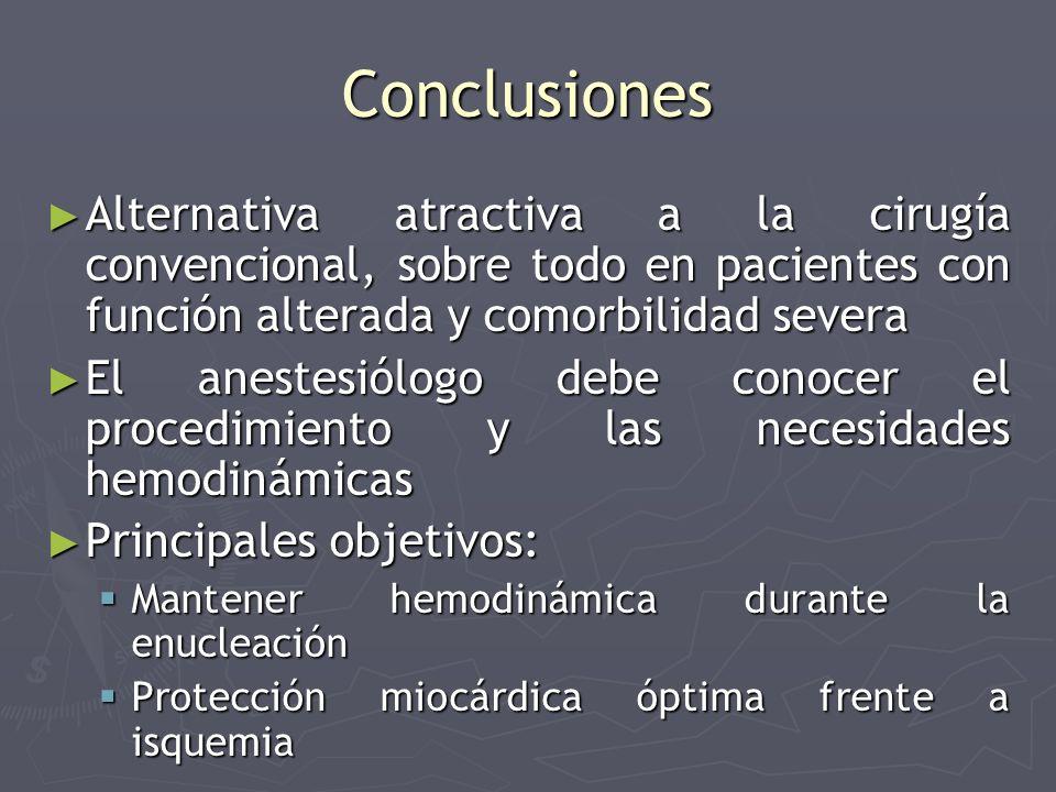 Conclusiones Alternativa atractiva a la cirugía convencional, sobre todo en pacientes con función alterada y comorbilidad severa.