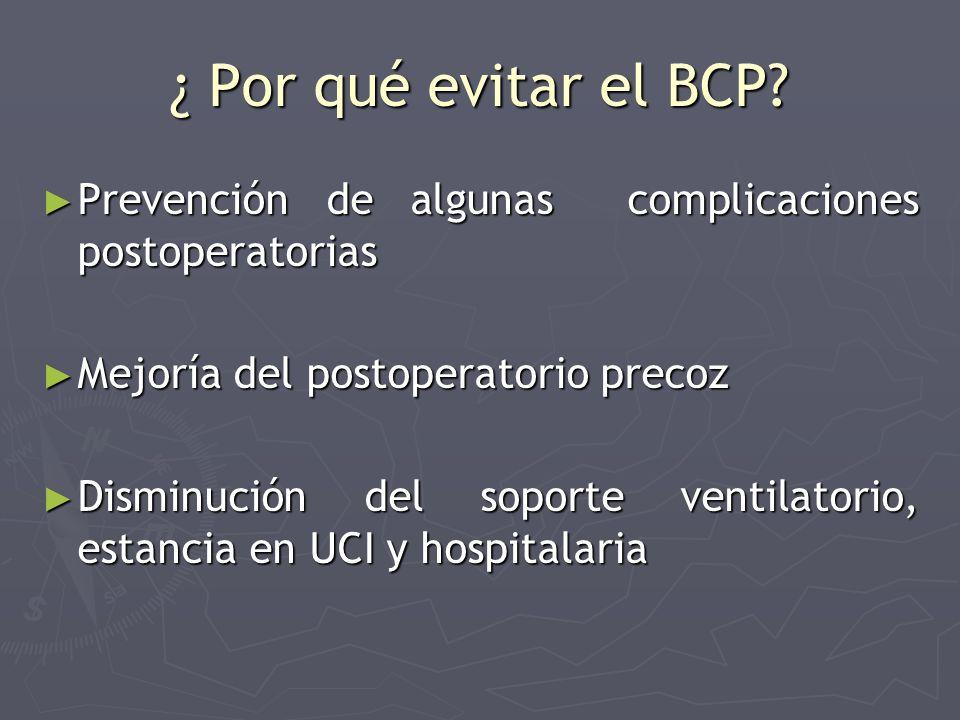 ¿ Por qué evitar el BCP Prevención de algunas complicaciones postoperatorias. Mejoría del postoperatorio precoz.