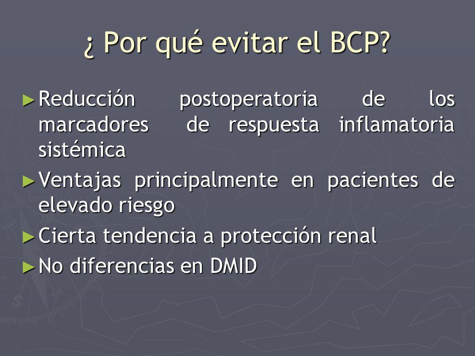 ¿ Por qué evitar el BCP Reducción postoperatoria de los marcadores de respuesta inflamatoria sistémica.