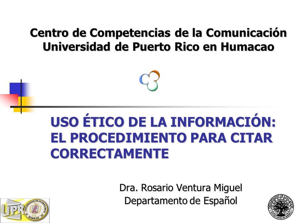 Dra. Rosario Ventura Miguel Departamento de Español