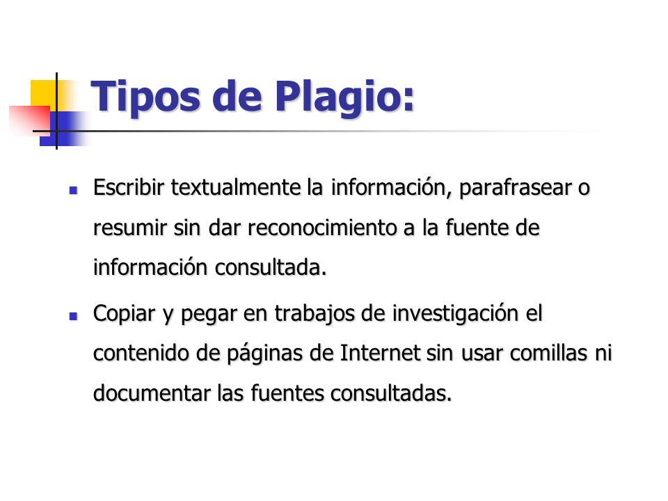 Tipos de Plagio: Escribir textualmente la información, parafrasear o resumir sin dar reconocimiento a la fuente de información consultada.