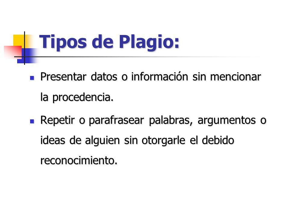 Tipos de Plagio: Presentar datos o información sin mencionar la procedencia.