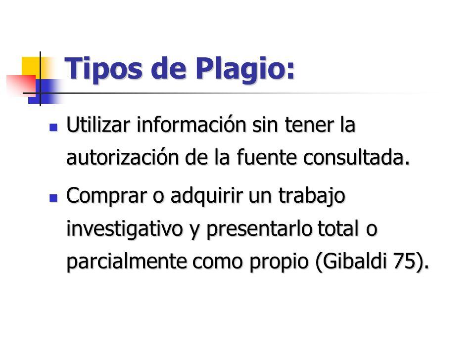 Tipos de Plagio: Utilizar información sin tener la autorización de la fuente consultada.