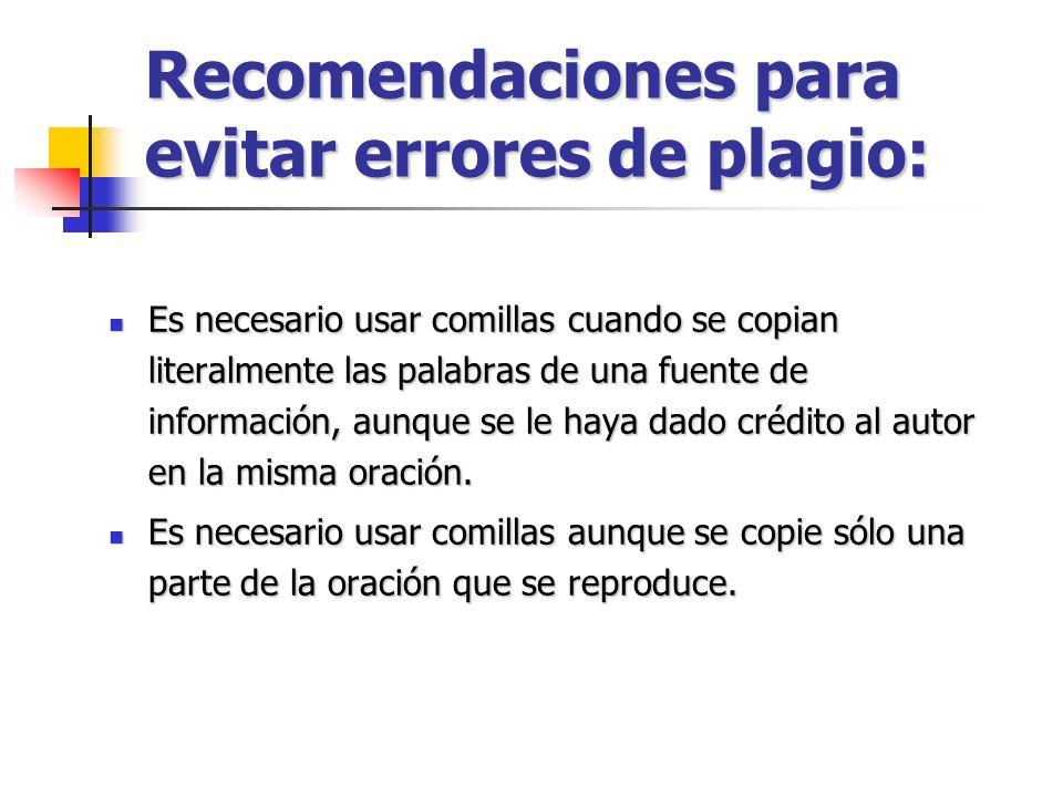Recomendaciones para evitar errores de plagio: