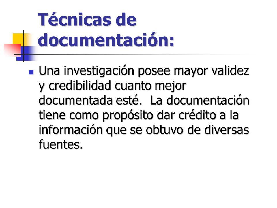 Técnicas de documentación: