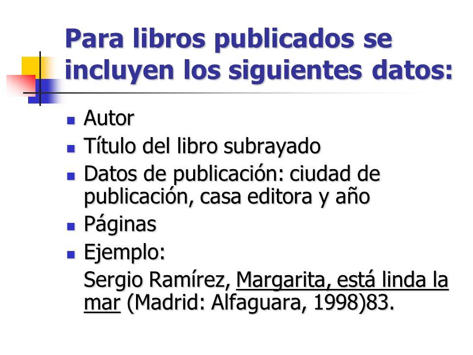 Para libros publicados se incluyen los siguientes datos: