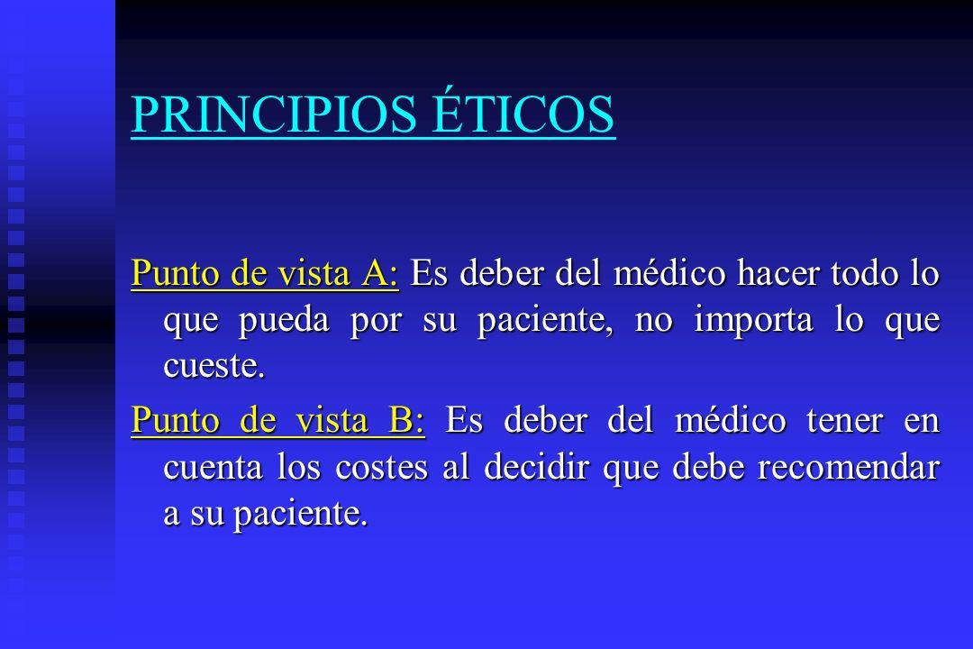 PRINCIPIOS ÉTICOS Punto de vista A: Es deber del médico hacer todo lo que pueda por su paciente, no importa lo que cueste.