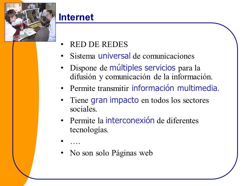Internet RED DE REDES Sistema universal de comunicaciones