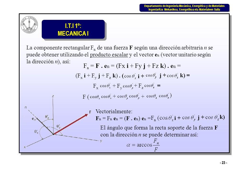 Fn = F . en = (Fx i + Fy j + Fz k) . en =