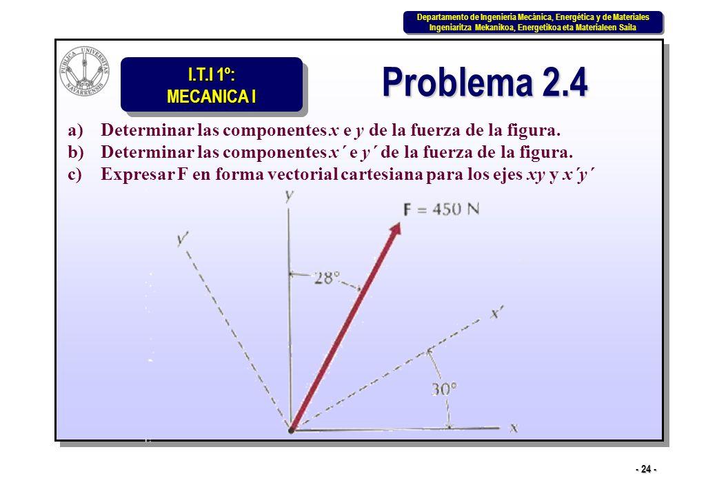 Problema 2.4 Determinar las componentes x e y de la fuerza de la figura. Determinar las componentes x´ e y´ de la fuerza de la figura.