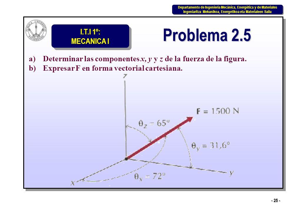 Problema 2.5 Determinar las componentes x, y y z de la fuerza de la figura.
