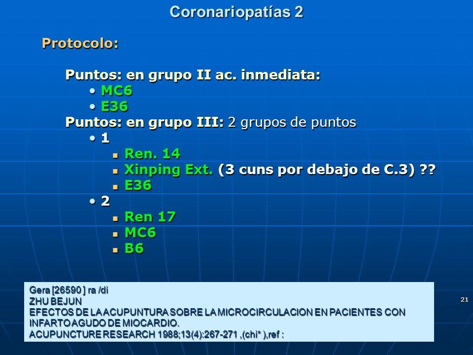 Coronariopatías 2 Protocolo: Puntos: en grupo II ac. inmediata: MC6