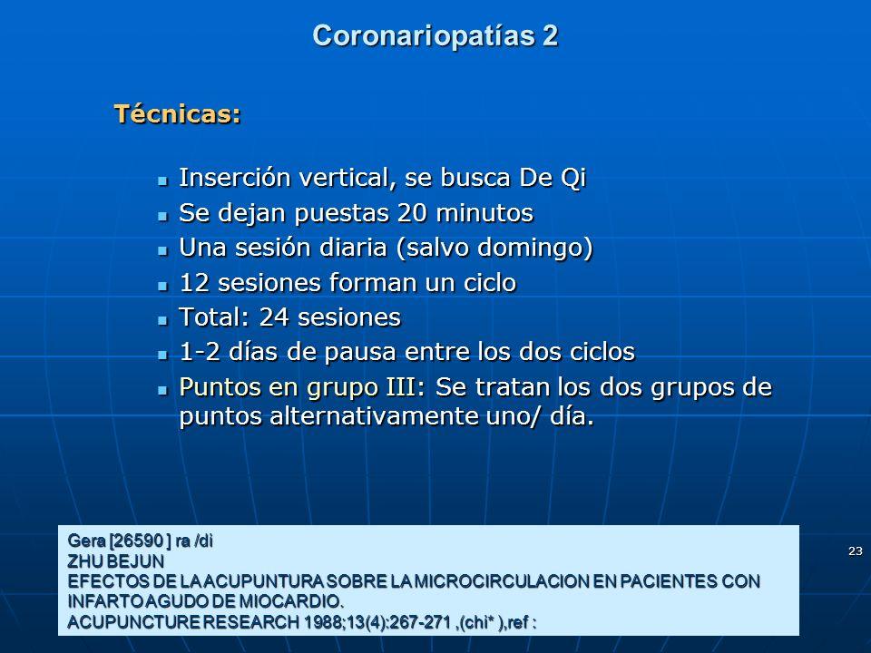 Coronariopatías 2 Técnicas: Inserción vertical, se busca De Qi