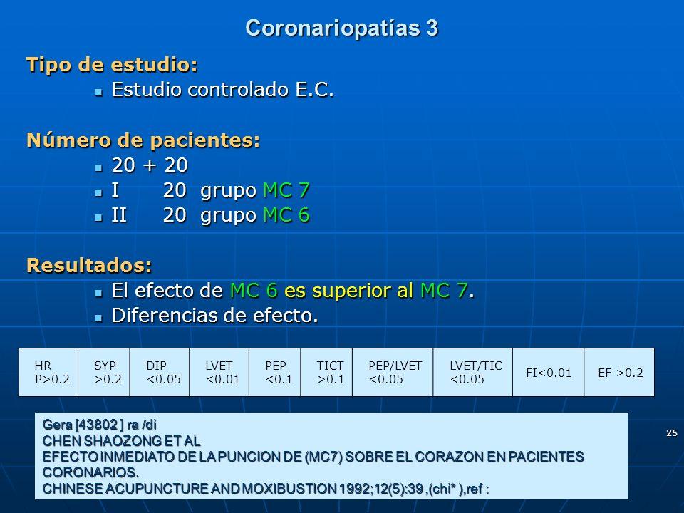 Coronariopatías 3 Tipo de estudio: Estudio controlado E.C.