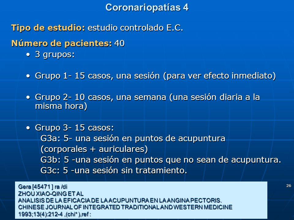 Coronariopatías 4 Tipo de estudio: estudio controlado E.C.