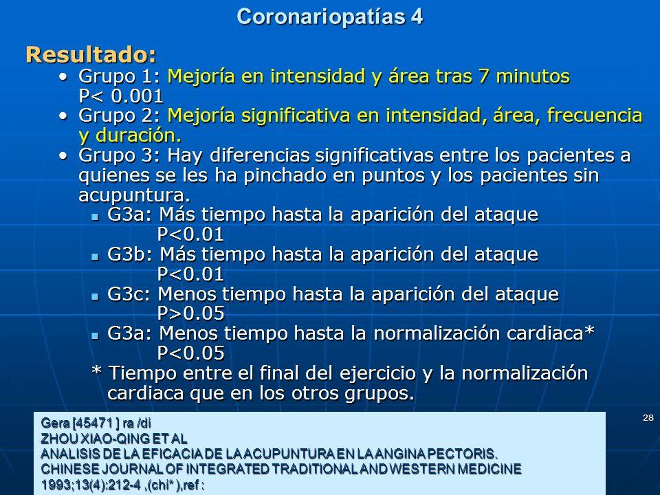Coronariopatías 4 Resultado: