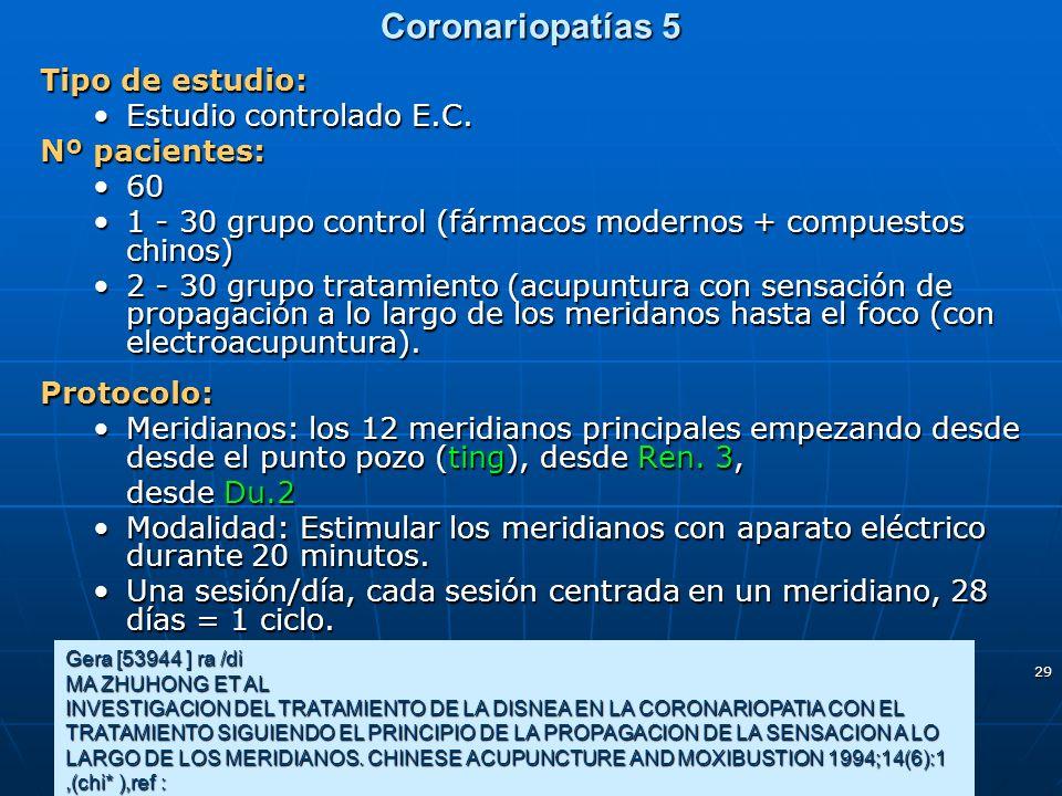 Coronariopatías 5 Tipo de estudio: Estudio controlado E.C.